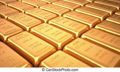 Golden ingots in bank vault or safe