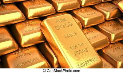 Golden ingots in bank vault or safe. Loop business 3d...