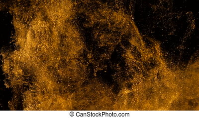 Golden ink in water shooting with high speed camera. ?opper...