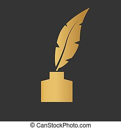 golden inkwell with a pen icon- vector illustration