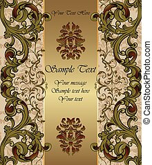 Golden Invitation card with vintage ornaments