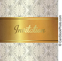 Golden invitation on wedding style background.