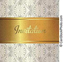 Golden invitation on wedding style background.