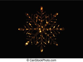 Golden iridescent flickering snowflake Christmas background