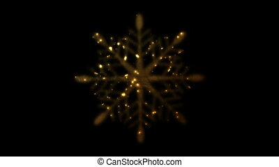 Golden iridescent flickering snowflake Christmas video animation
