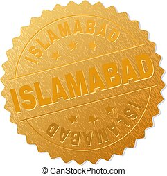 Golden ISLAMABAD Medallion Stamp - ISLAMABAD gold stamp...