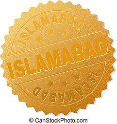 Golden ISLAMABAD Medallion Stamp - ISLAMABAD gold stamp...