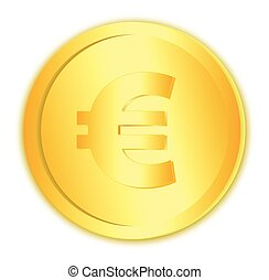 Golden isolated euro coin on the white