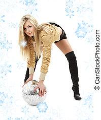 golden jacket girl with disco ball