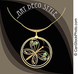 Golden jewel with butterfly, green gems. Necklace in art deco style. Circle pendant on filigree golden chain.