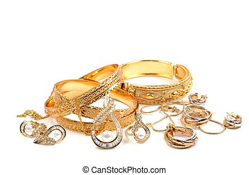 Golden jewelry - Golden bracelets and jewelry sets, over...