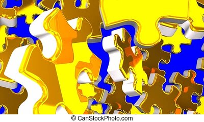 Golden jigsaw puzzle on blue chroma key. 3DCG render...