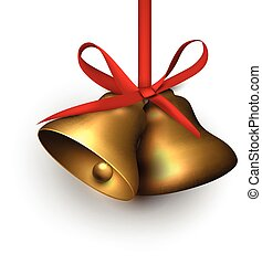 Golden jingle bells with red bow.
