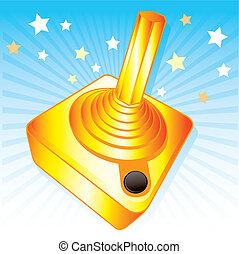 Golden joystick gamers award vector illustration