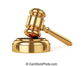 3d render of golden judge gavel isolated on white background
