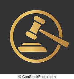 golden judge hammer icon- vector illustration