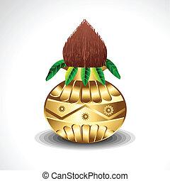 Golden Kalash With Coconut Vector
