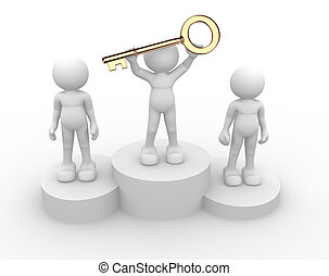 Golden key - 3d people - human character, person with golden...