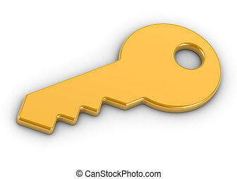 Golden key on a white background