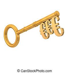 Golden key with three euros on the white background.