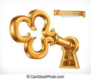 Golden key in keyhole, 3d vector icon
