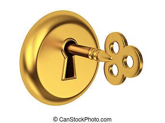 Golden key in keyhole