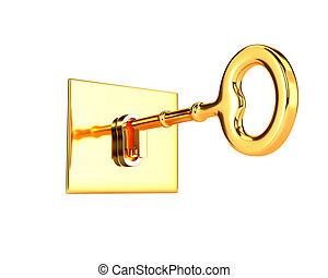 Golden key in keyhole isolated on white background. 3d illustration.