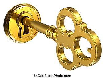 Golden key in keyhole isolated on white background