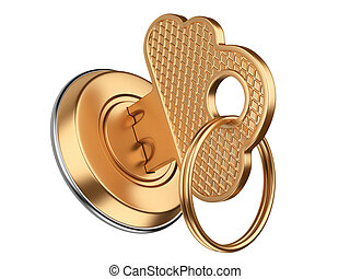 golden key in keyhole. storage data cloud security concept