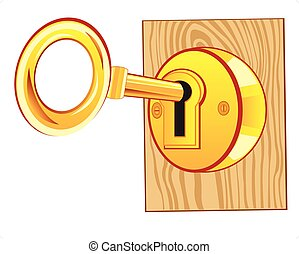 Vector illustration of old golden key with gold lock isolated on white background csp9447002 - Locked door clipart ...