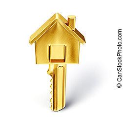key - golden key isolated on a white. 3d illustration
