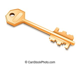 Golden key isolated on white background.