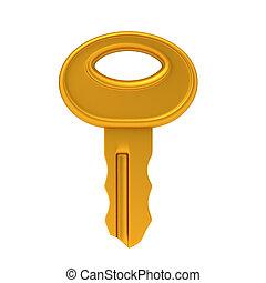 golden Key lock - simple shading 3d render key lock