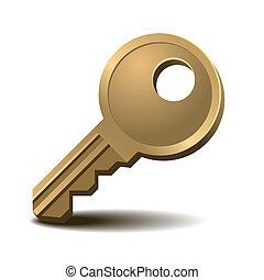 Golden key - Modern gold key isolated on white background