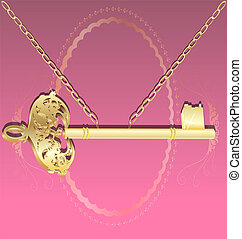 golden key on a chain