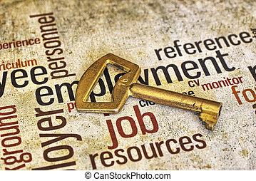 Golden key on job text