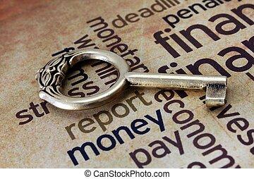 Golden key on money text