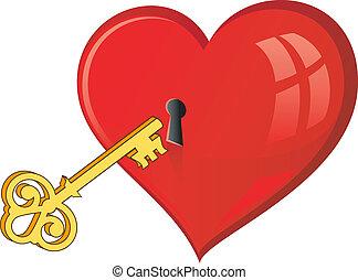 Golden key opens the heart. Over white. EPS 8, AI, JPEG