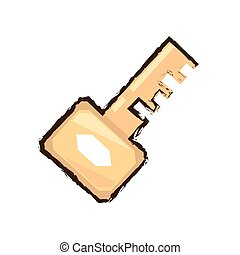 golden key security access tool color sketch