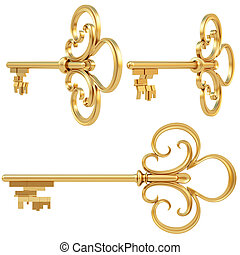 golden key set of views. isolated on white. with clipping path.