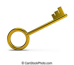 Golden key - Stylish gold key. 3d image. White background.