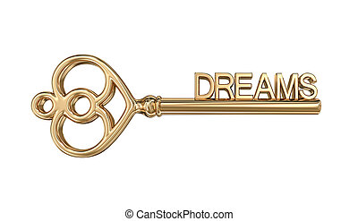Golden key to dreams, clipping path included