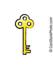 Golden key with a black stroke