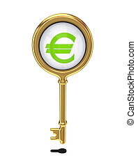 Golden key with a euro sign.