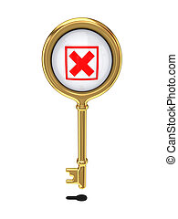 Golden key with a red cross mark.