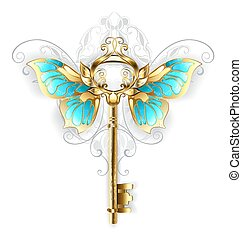 golden key with butterfly wings - Gold Skeleton Key with ...