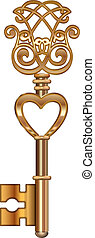 Golden Key with Heart. Vector