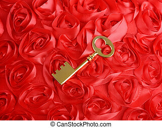 golden Key with rose petals as a symbol of love