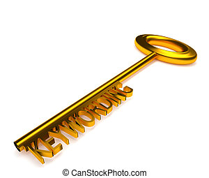 Golden key with the word keywording, 3d rendering