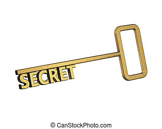 golden key with word secret on a white background